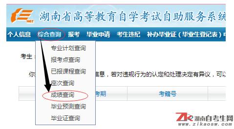 2019湖南大学自考成绩查询入口