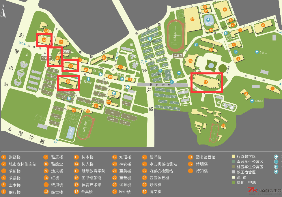2019年10月中南林业科技大学自考考场分布图