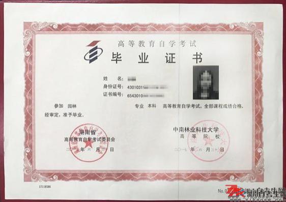 湖南自考毕业证样本