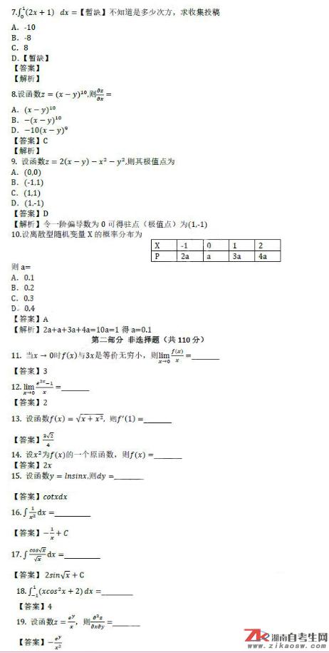 2019年成人高考专升本高等数学(二)历年真题及答案